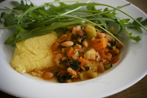 White Bean Soup with Polenta and Rocket