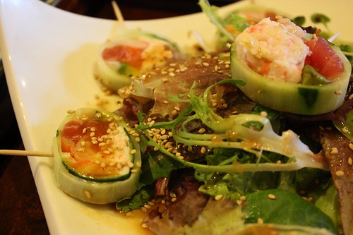 Pain in the Ass - inside: shrimp, avocado, crab, tuna, salmon, white fish; outside: cucumber with ponzu