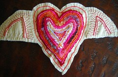 WINGED HEART COUCHED EMBROIDERY EXPLORED photo by peregrine blue