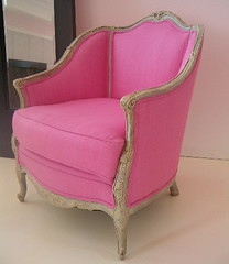 REWORKED ANTIQUE FRENCH PINK CHAIR photo by thevintagelaundress