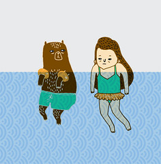 bear and girl meet in the sea photo by gemma correll
