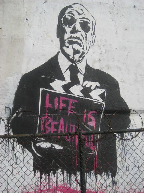 Alfred hitchcock mural by mr brainwash flickr photo for Mural by mr brainwash