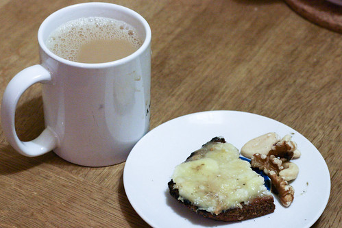 Tea and Toast with Banana and Mixed Nuts