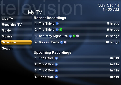 MyTV Menu in SageTV (SageMC UI)