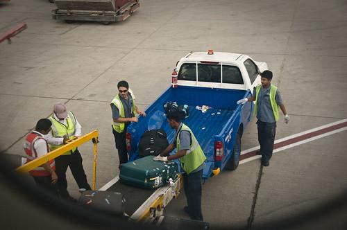 Loading my suitcase in Dubai