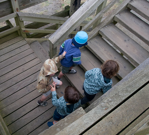 Boys assulting the lookout tower