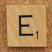Wood Scrabble Tile E