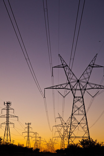 wires at sunset