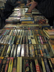 A view from the end of the table, with rows and rows of books