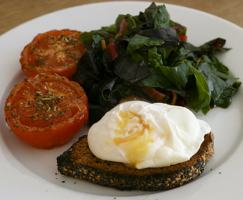 Poached Egg on Toast with Grilled Tomatoes and Rainbow Chard