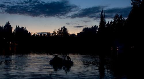 night boating on cottage lake