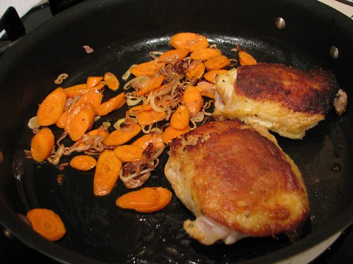 Dining Alone: Pan Seared Chicken with Shallot and Carrots