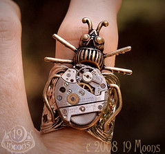 BEETLE MECHANIQUE Vintage Watch Ring by 19 Moons Adjustable STEAMPUNK CLOCKWORK BEAUTY photo by 19moons