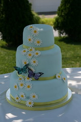 Butterfly & Daisy Wedding Cake photo by Lucky Penny Cakes