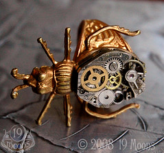 BEETLE MECHANIQUE Vintage Watch Ring by 19 Moons STEAMPUNK Side View photo by 19moons