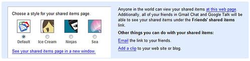 Google Reader shared items upgrade