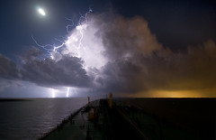 Lightning on Galveston Bay photo by OneEighteen