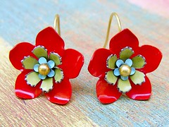 Vintage Red Flower earrings photo by Mirela Jazdzewska