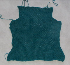 soon-to-be-frogged cardigan back