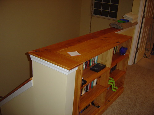 The bookshelf in place