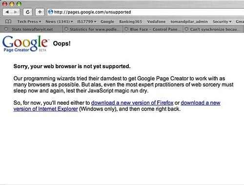 Google Pages on Safari