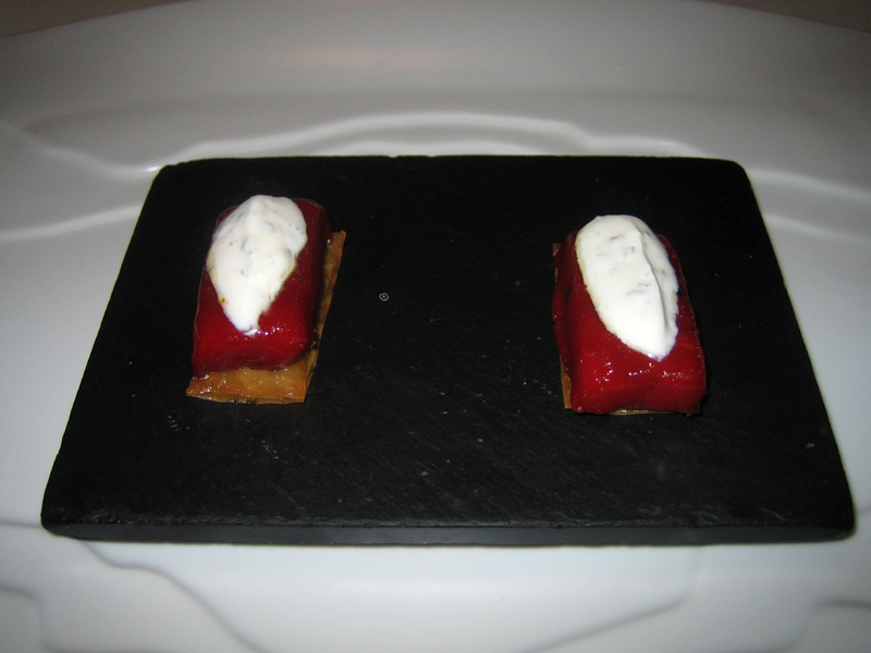 El Bulli - Red Pepper Gelee w/ Yogurt Tarragon