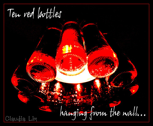 10 red bottles