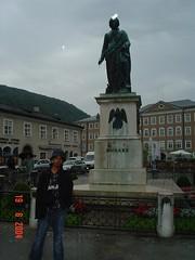 Statue Mozart kat Market Square, Salzburg, Austria