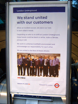 London Underground Diversity Poster at Canary Wharf on the way back from Bob's
