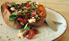 sweet potato with feta/olive salad