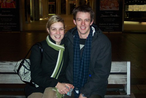 On a bench along the Champs Elysees after getting engaged.