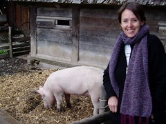 Jess with the pigs