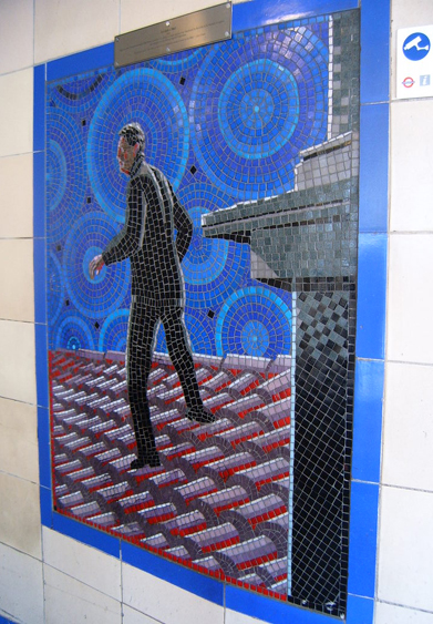 Hitchcock Leytonstone London Underground Mosaics - Thief & Surveillance Camera