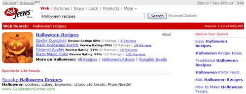 Smart search for Halloween recipes