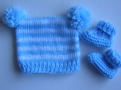 Stripey Preemie Hat and Booties