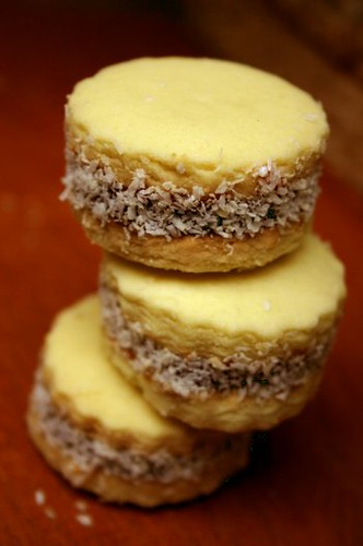 Three Maizena alfajores with grated coconut
