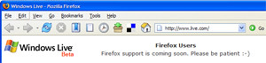 Microsoft Live will support Firefox