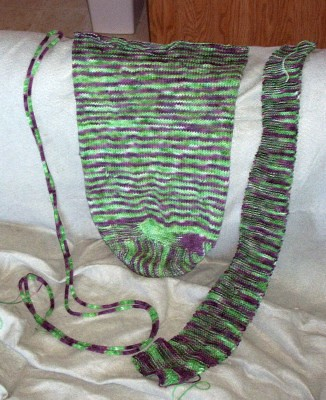 Purple and green bag before felting