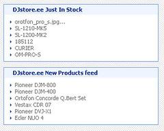 DJstore.ee uued RSSid Netvibes.com-ist vaadates