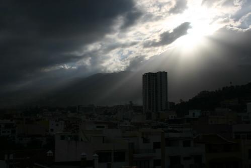 Dramatic sun rising from roof top terrasse in Puerto de la Cruz