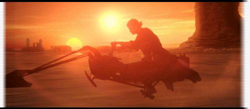 Anakin riding his speederbike