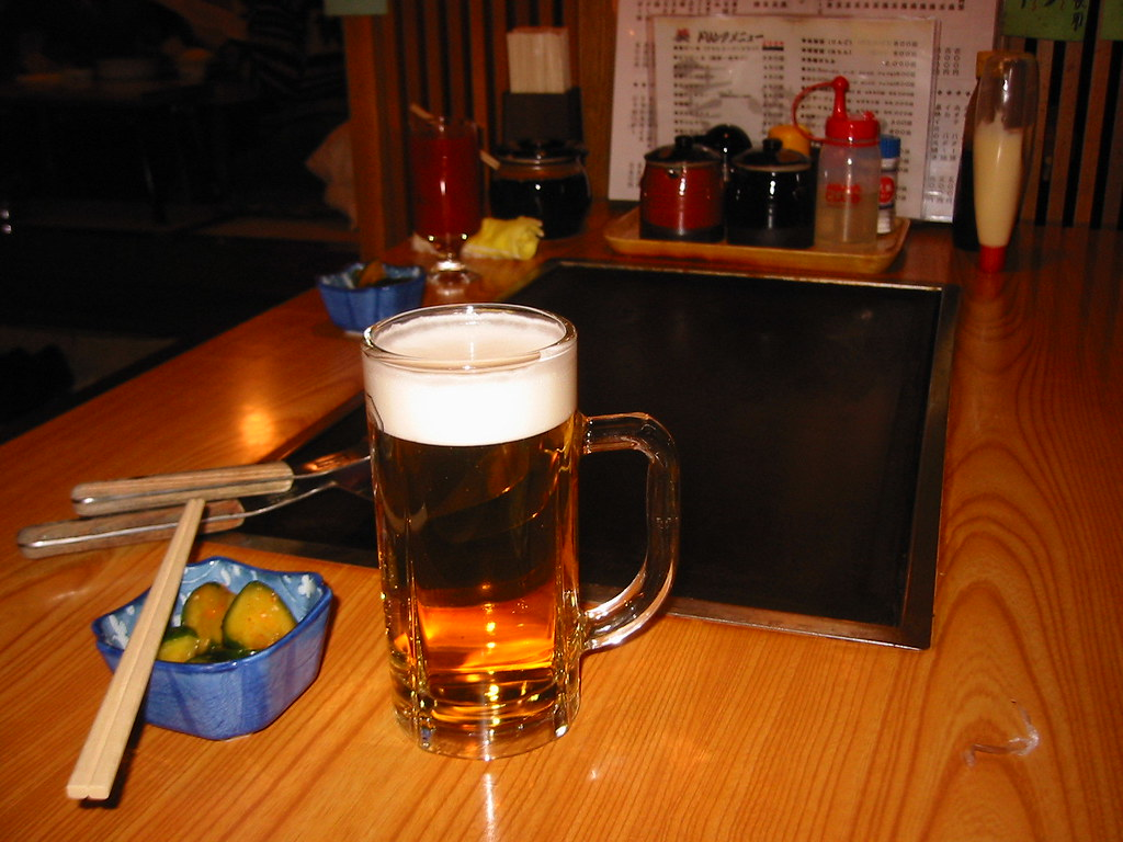 Beer at the okonomiyaki shop