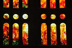 Barcelona.  Basilica of La Sagrada Família. Stained glass windows of the aisles. photo by Catalan Art & Architecture Gallery (Josep Bracons)