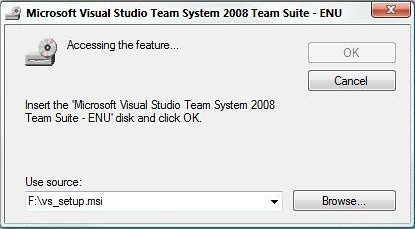 Visual Studio - Installation Media Prompt - 2