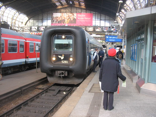 Hamburg to Copenhagen train at Hamburg Hauptbahnhof