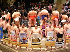 sumo fighters entering  the ring - Tokyo Ryogoku photo by Ginas Pics
