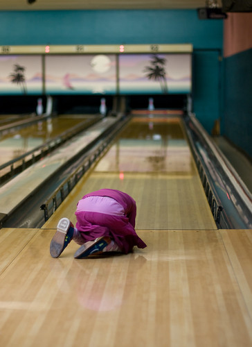 Mia crying on bowling lane