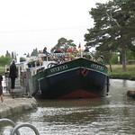 Walking along the barge Emma