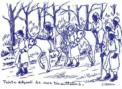 1945- Campagne des Vosges - Triste départ de nos tirailleurs par Jean COQUIL (capitaine au B.M.5)