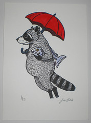 Raccoon Hand Painted Gocco Print photo by misnopalesart